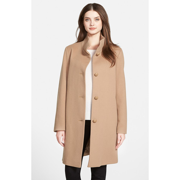 FLEURETTE petite   cashmere stand collar car coat - A tall stand collar tops a timelessly elegant A-line coat...