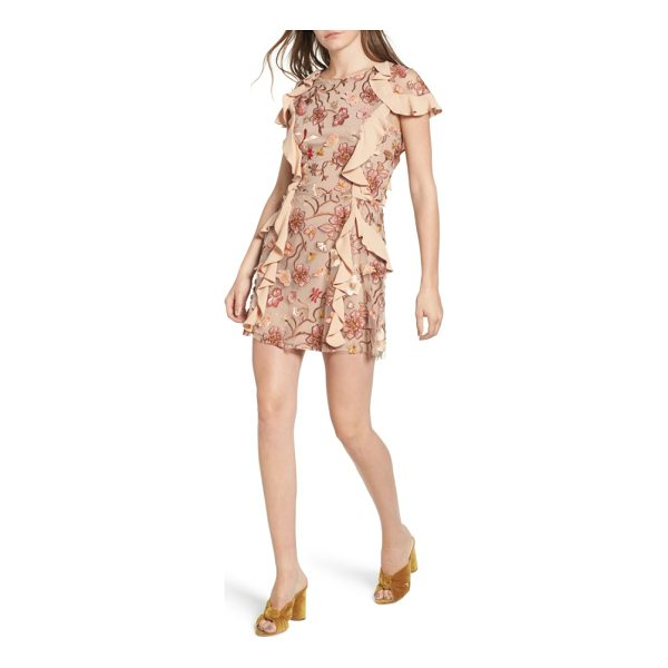 FOR LOVE & LEMONS botanical embroidered ruffle minidress - Soft and romantic floral embroidery adorned with cascading...