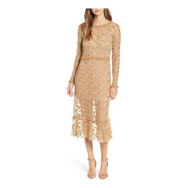FOR LOVE & LEMONS golden garden tulle midi dress - A lavish blend of sparkling bug embroidery and transparent...