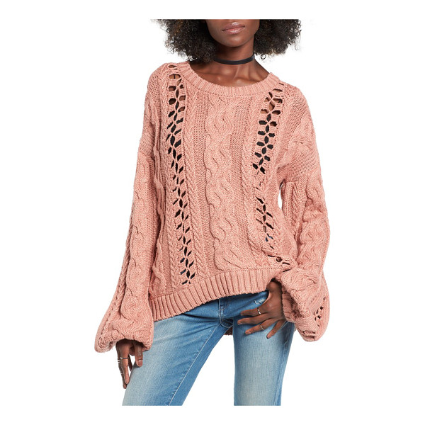 FOR LOVE & LEMONS wythe openwork bell sleeve sweater - Skin-flashing openwork insets sneak summertime vibes into a...