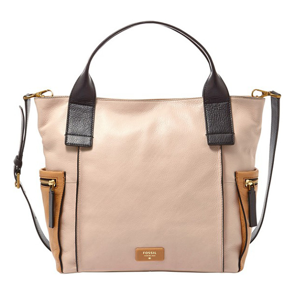 FOSSIL Emerson colorblock leather satchel - Go from work to weekend seamlessly with this color-blocked...