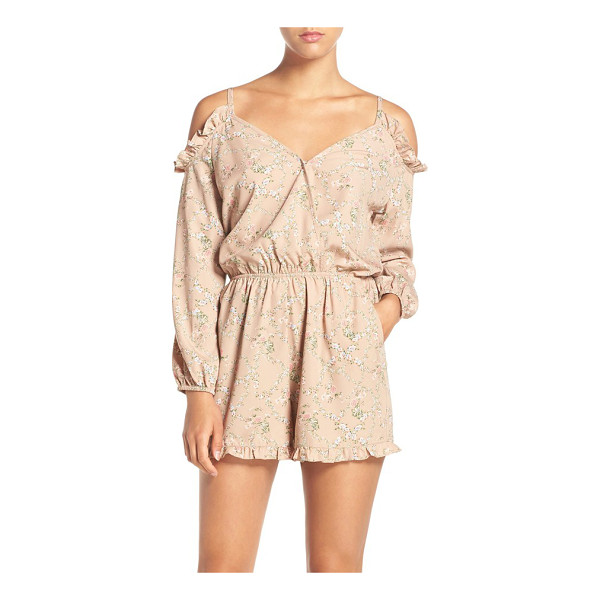 FRAICHE BY J abigail cold shoulder print romper - Flirty ruffles frame the cold-shoulder cutouts and swingy...