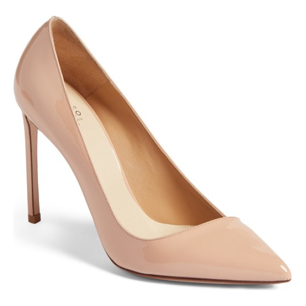 FRANCESCO RUSSO pointy toe pump - An asymmetrically low-cut topline adds a modern vibe to an...