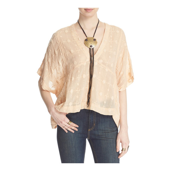 FREE PEOPLE amber skies cotton blouse - Delicate embroidery sweetens a gauzy, billowy cotton blouse...