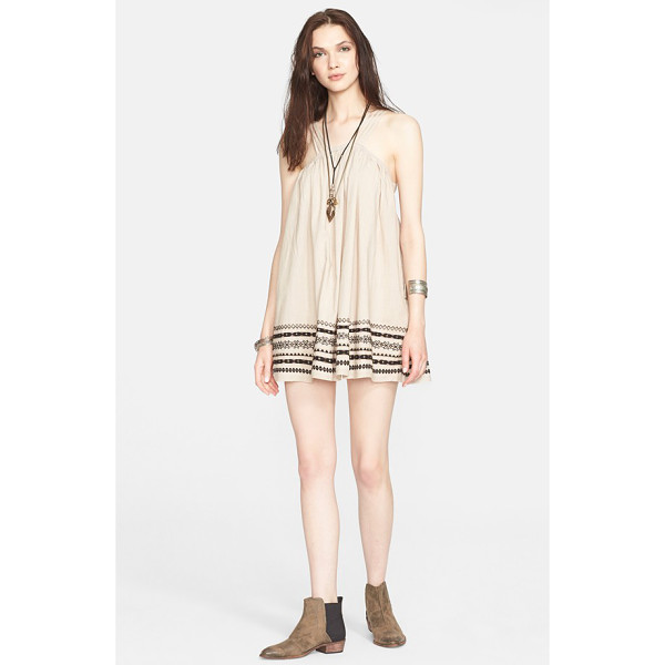 FREE PEOPLE batiste embroidered cotton dress - Kashmir-style embroidery adds an artisanal aesthetic to a...