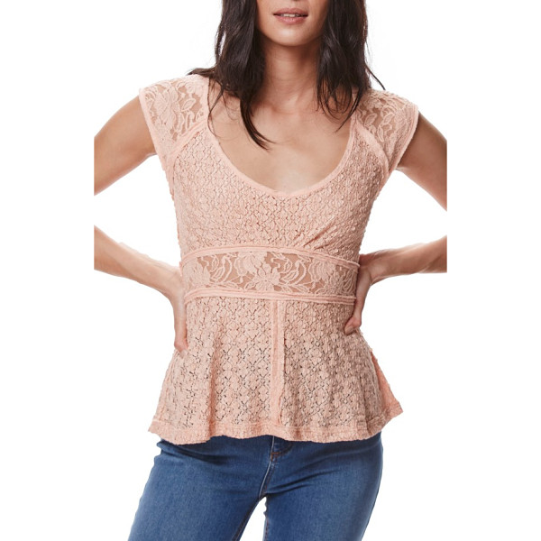 FREE PEOPLE besties lace tee - Deconstructed and ladylike, this lacy fitted tee has insets...