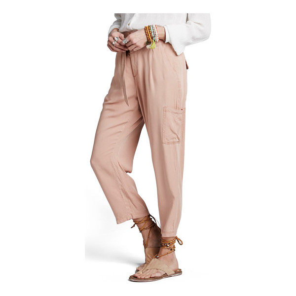 FREE PEOPLE crop cargo pants - A wide waistband with gently shirred details tops soft,...