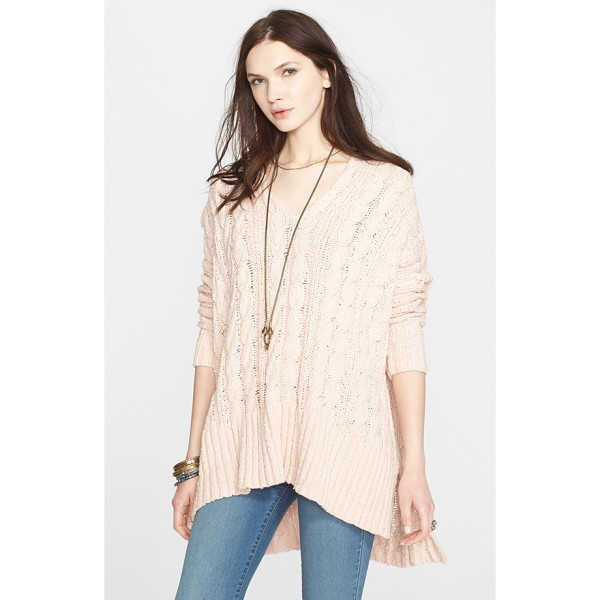 FREE PEOPLE easy cable v-neck sweater - Free People's grungy spin on the classic cable-knit sweater...