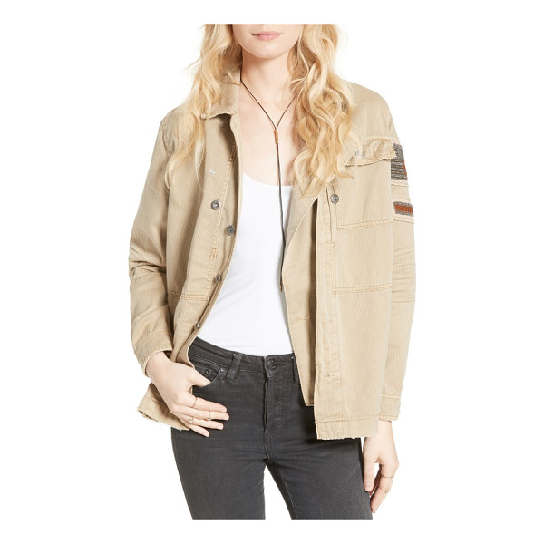 FREE PEOPLE embellished military shirt jacket - Chevron patches at the shoulder signify your status among...