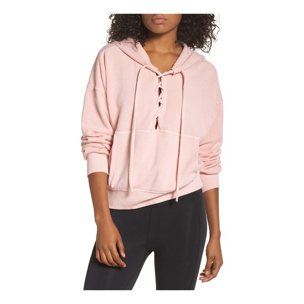 FREE PEOPLE fp movement believer hoodie - Soft and slouchy, this lace-up hoodie is your comfortable...