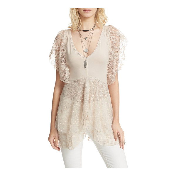 FREE PEOPLE heatherton top - Set hearts a-flutter in this ethereal, partially sheer...