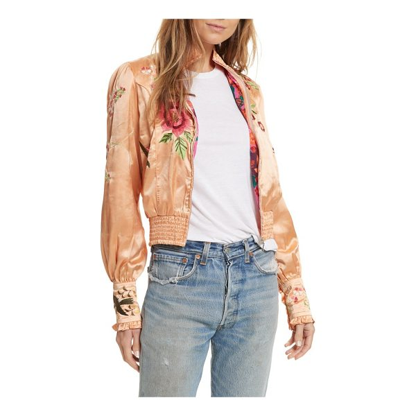 FREE PEOPLE just peachy silk bomber jacket - A fanciful rendition of the classic bomber, this one is cut...