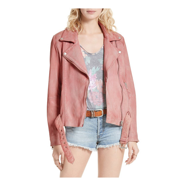 FREE PEOPLE leather moto jacket - A pretty bubblegum-pink hue tempers the biker-chic edge of...