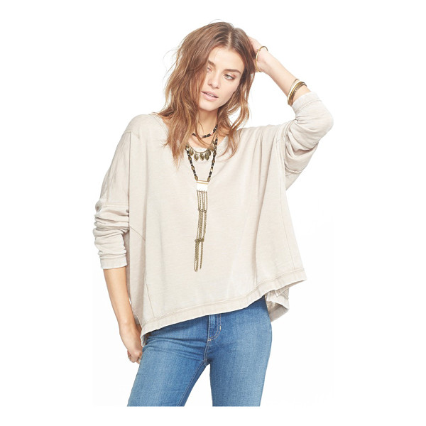 FREE PEOPLE little ann pullover - Reverse seams highlight the paneled construction of a boxy,...
