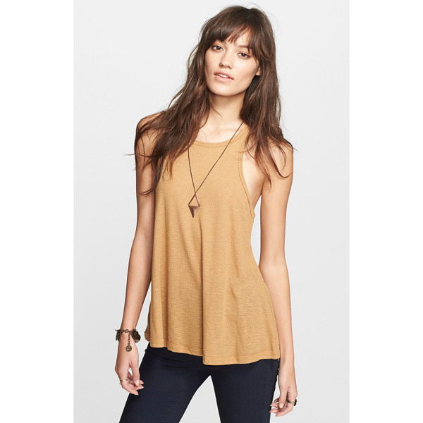 FREE PEOPLE 'long beach' tank - A finely knit racerback tank is cut in a swingy,...