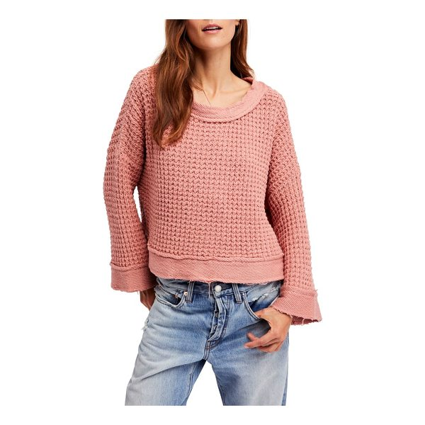 FREE PEOPLE maybe baby bell sleeve sweater - This loosely knit sweater with bell sleeves and a laced...