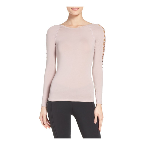 FREE PEOPLE fp movement rama layering top - A ballet neckline and openwork sleeves make this graceful...