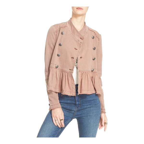FREE PEOPLE ruffle hem military jacket - The crest-stamped buttons of the double-breasted closure...