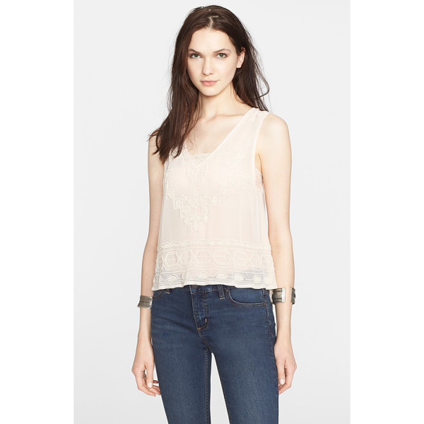 FREE PEOPLE run with it embellished tank - Inky beadwork details a sheer V-neck tank finished with a...