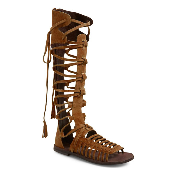FREE PEOPLE sun seeker tall gladiator sandal - Buttery-soft suede distinguishes the sultry, cagey straps...