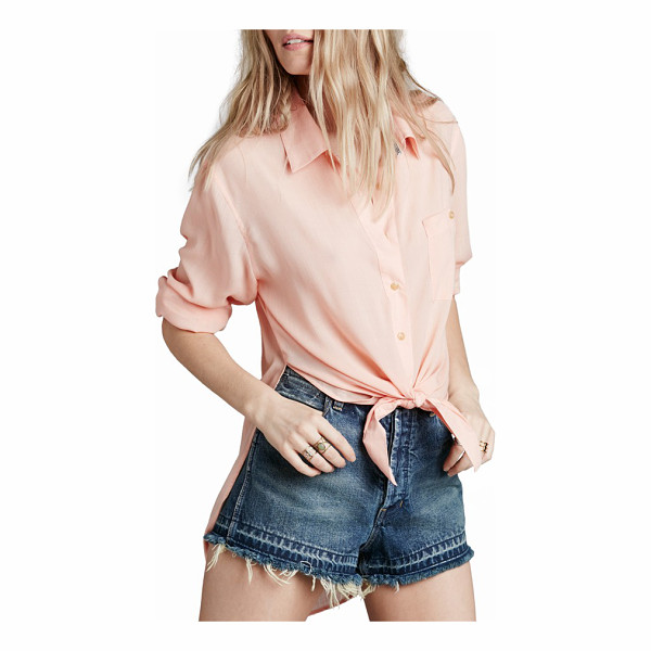 FREE PEOPLE thats a wrap shirt - A crisp spread collar and structured back yoke style a...