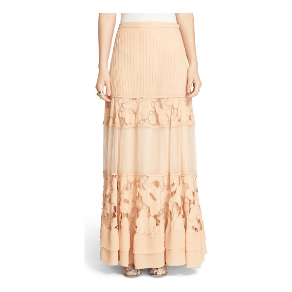 FREE PEOPLE to put it wildly lace inset maxi skirt - Stripes of pintucked pleats, floral lace and softly...