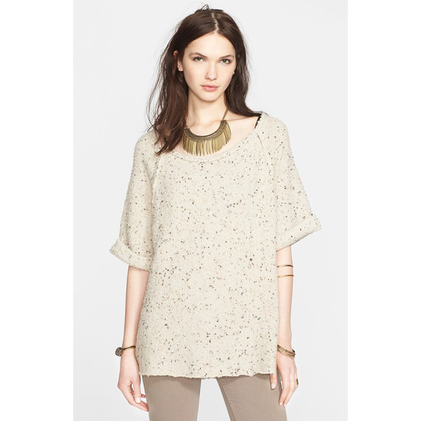 FREE PEOPLE tweed top - Cuffed short sleeves, a step hem with side vents and...