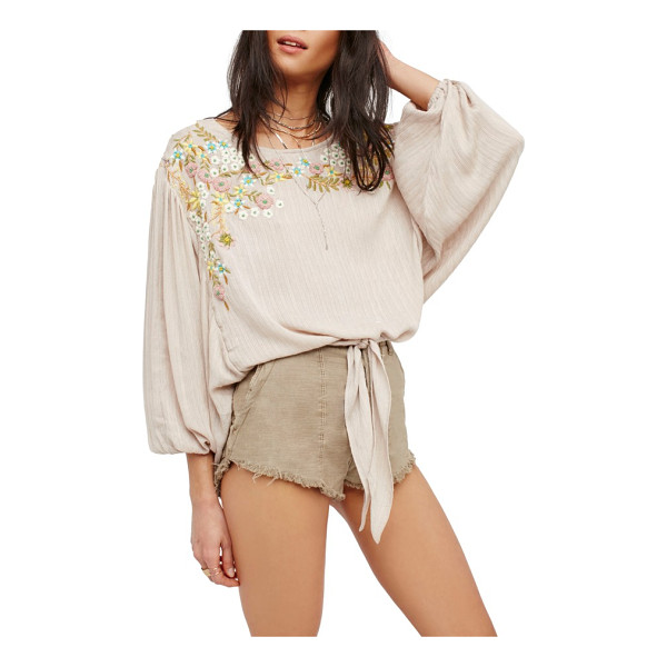 FREE PEOPLE up & away embroidered peasant blouse - This billowy blouse is cinched at the waist and enlivened...
