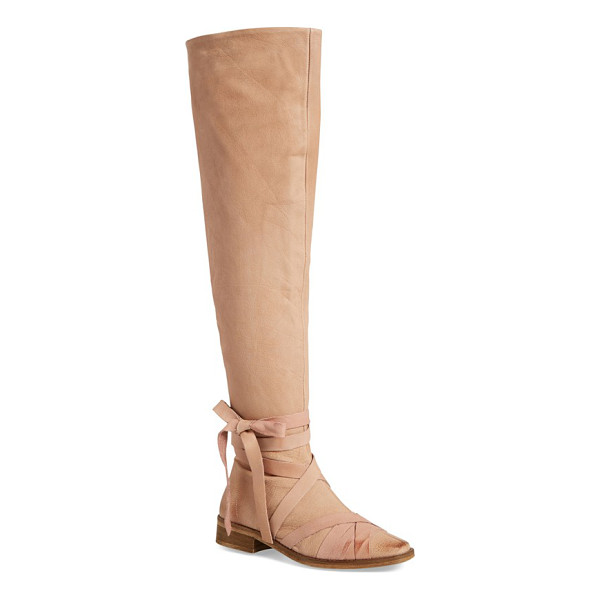 FREE PEOPLE west end wraparound over the knee boot - Contrast leather straps wrap the shaft and square toe of an...