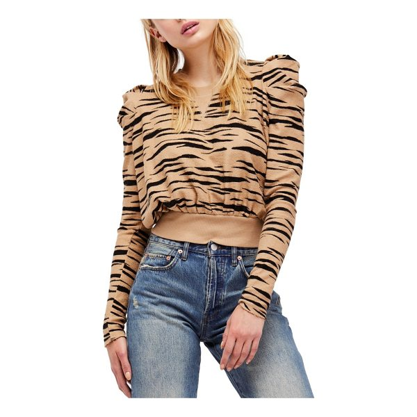 FREE PEOPLE zaza zebra pullover - A zebra-print pullover in supersoft terry with statement...