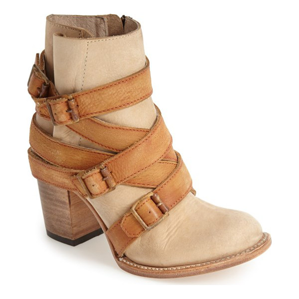 FREEBIRD BY STEVEN hustle leather ankle boot - A heavily worn finish and distressed buckled straps further...
