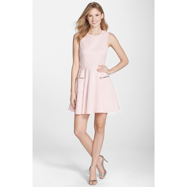 FRENCH CONNECTION lickety split embellished pocket fit & flare dress - Dazzling embellishments trim the pockets on a charming...