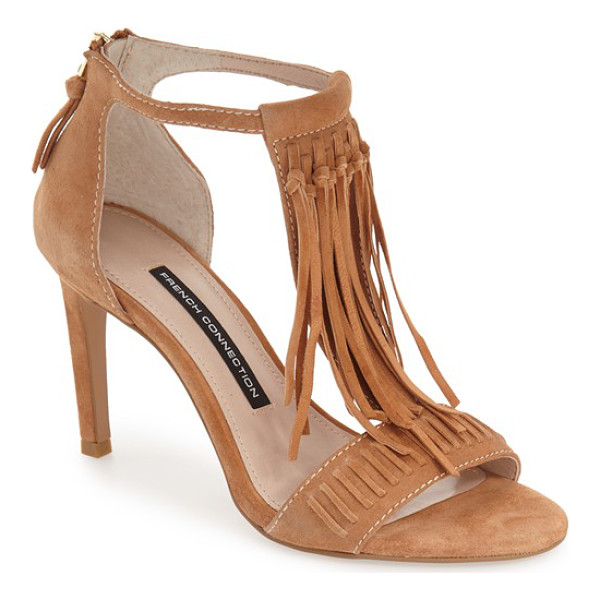 FRENCH CONNECTION lilyana fringe t-strap sandal - Swingy fringe adds a boho-chic vibe to a retro-inspired...