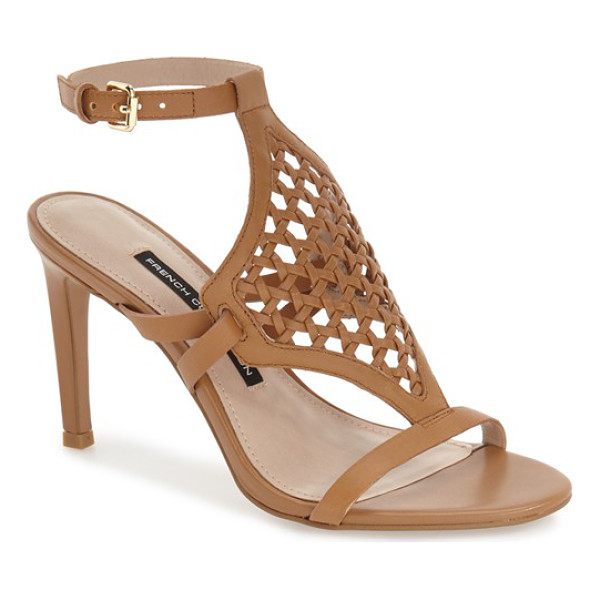 FRENCH CONNECTION linny woven sandal - A breezy, woven-leather vamp flatters the foot in a chic...
