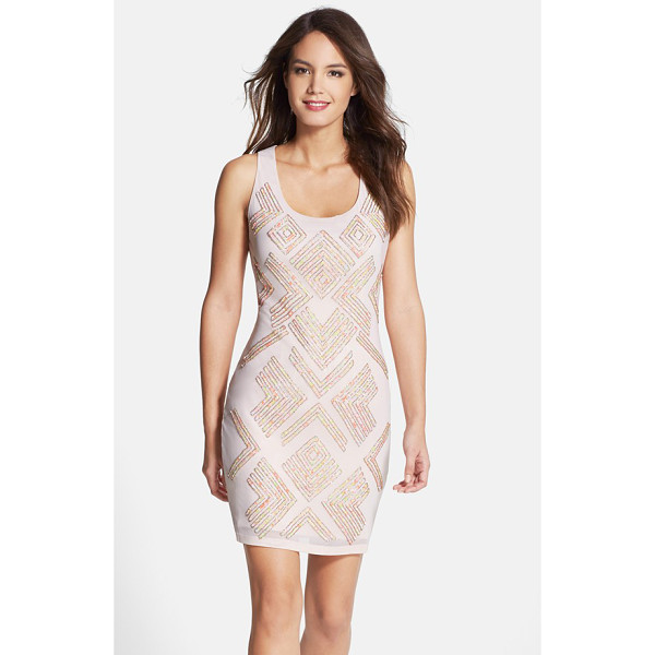 FRENCH CONNECTION sequin jersey sheath dress - Playful multicolored sequins in a trendy geometric design...