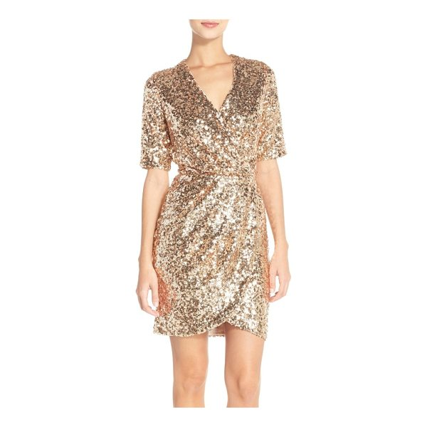 FRENCH CONNECTION sequin mesh faux wrap dress - A dazzling array of light-catching sequins defines a slinky...
