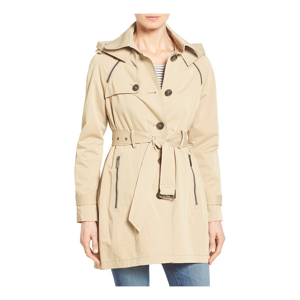 FRENCH CONNECTION single breasted skirted trench coat with removable hood - A timeless, single-breasted trench gets a ladylike spin in...