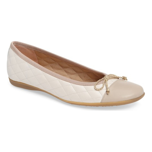 FRENCH SOLE 'passport' flat - Lustrous patent toe cap styles a quilted leather flat...