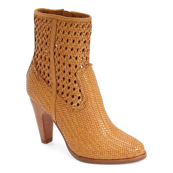 FRYE celest woven bootie - Soft vintage leather is woven together in a delicate,...