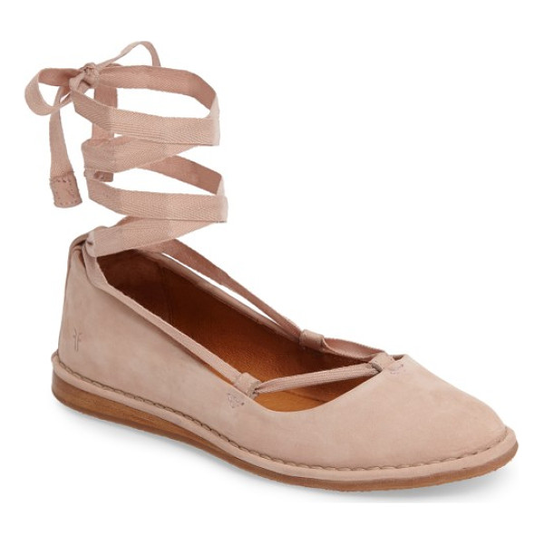 FRYE helena ankle wrap flat - Soft ballet laces wrap your ankle above a pretty,...