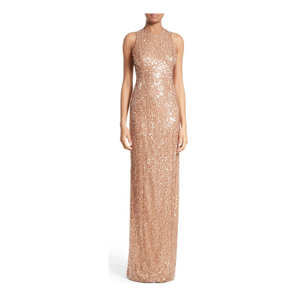 GALVAN LONDON sequin racerback gown - Made from comfortable stretch jersey embroidered with gold...