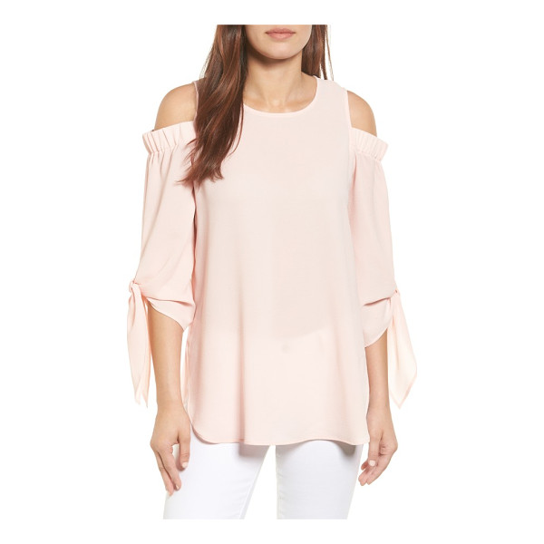 GIBSON cold shoulder top - Sleeve ties add feminine frill to a textured crepe top with...