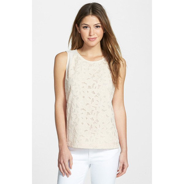 GIBSON sleeveless embroidered mesh front top - Embroidered appliques add a dose of feminine charm to the...