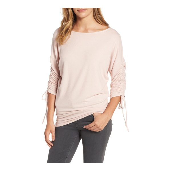 GIBSON tie sleeve cozy fleece top - Drawstrings ruching the dolman sleeves add a fun touch to a...