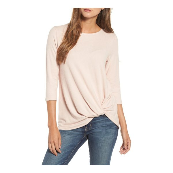 GIBSON twist front cozy fleece pullover - A twisted detail at the front hem gives a little tucked-in...
