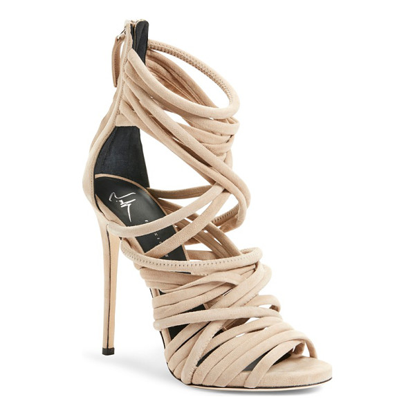 GIUSEPPE ZANOTTI a-line strappy cage sandal - A strappy cage sandal crafted in Italy from lush suede...