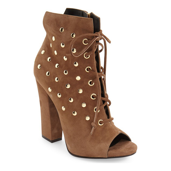 GIUSEPPE ZANOTTI 'alien' open toe boot - Gleaming goldtone studs illuminate a svelte ankle boot...