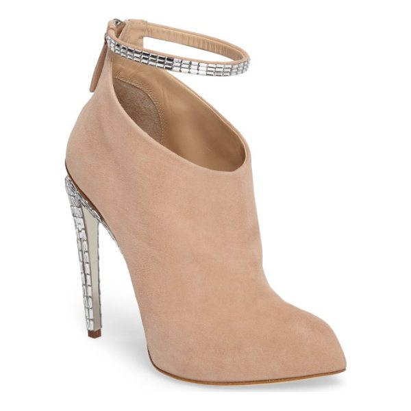 GIUSEPPE ZANOTTI giuseppe for jennifer lopez ankle strap bootie - Glimmering crystals encrust the heel and strap of a...