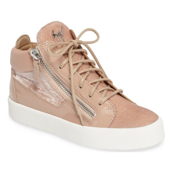 GIUSEPPE ZANOTTI breck mid top sneaker - Gunmetal logo hardware and exposed side zippers add...
