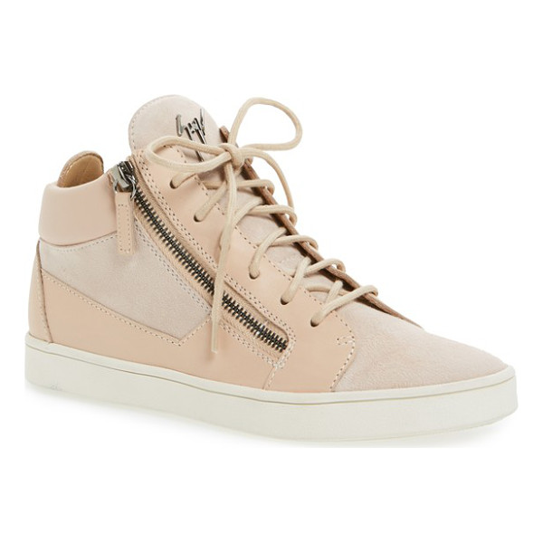 GIUSEPPE ZANOTTI 'breck' mid top sneaker - Gunmetal logo hardware and exposed side zippers add...
